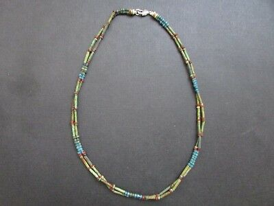 NILE  Ancient Egyptian Double Strand Faience Amulet Mummy Bead Necklace c 1000BC