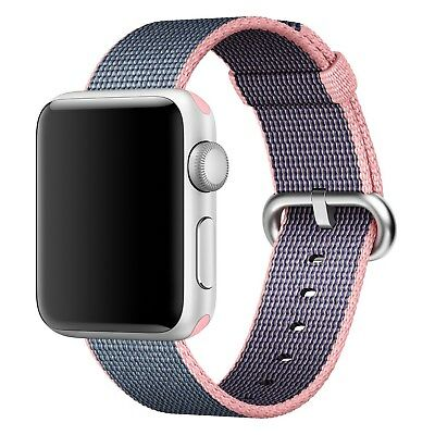 Genuine OEM Apple Watch 38mm Woven Nylon Band Light Pink Midnight Blue Stainless