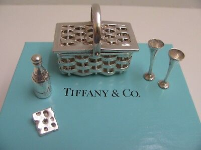 Tiffany  Sterling Silver Miniature Picnic Basket Wine Bottle 2 Glasses Cheese