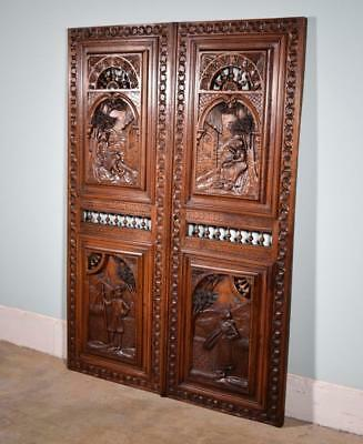 "*57"" Tall Pair of French Antique Door Carved Breton Panels in Chestnut Wood"