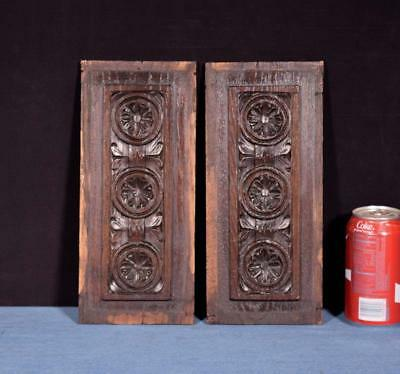 "*11"" French Antique Breton Hand Carved Architectural Panels Solid Chestnut Wood"