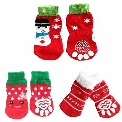 4 pcs / set Indoor Pet Dog Soft Cotton Anti-slip Knit Weave Warm Sock Skid Botto