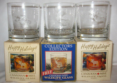 """Set of 3 Canadian Mist Imported Whiskey Etched Elk Low Ball 3"""" Glass"""