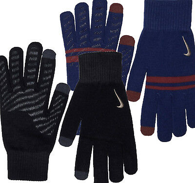 NIKE MEN'S KNITTED TECH & GRIP SMARTPHONE BLACK or BLUE GLOVES - FAST DELIVERY
