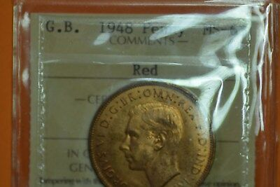 United Kingdom penny 1948 MS65 RED by ICCS. Rare and great!