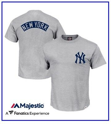 New York Yankees MLB Finter T-Shirt Grey by Majestic LARGE Size BNWT *MNY4859E2*