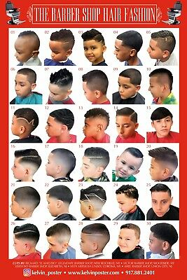 New 24 X 36 Barber Shop Poster Modern Hair Styles Youht And Kids Hispanic