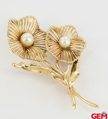 Vintage Geranium Pearl Solid Yellow Gold 14k 585 Lapel Pin Brooch