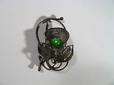 Vintage Beautiful Filigree Brooch With Green Ball Silver Color #111