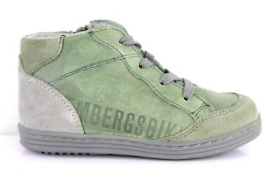 Bikkembergs Baby Shoes Baby Trainers with Zipper Leather Green Sz. 25