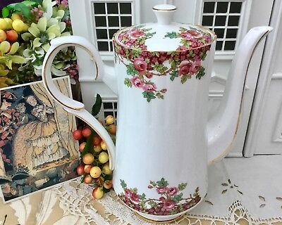 Royal Stafford Coffee Pot With Lid - Olde English Garden Gilded Bone China