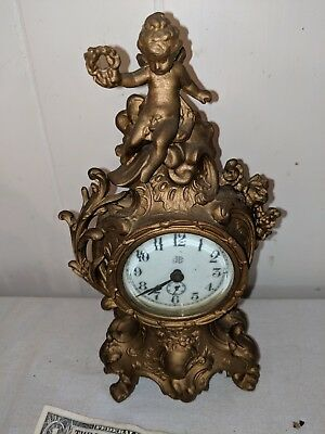"Antique Jennings Brothers Ornate 10"" Cherub Clock Not Working"