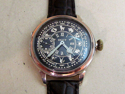 Art Deco EXACT Zodiak Silver Swiss Vintage men's Mechanical Wristwatch Servised