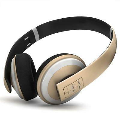 Wireless Bluetooth Headphones Foldable Noise Cancelling On Ear Headset (Gold)