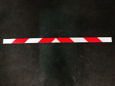 "Reflective, Magnetic, Chevron Panels, White and Red Diagonal Slant 3""x68"""
