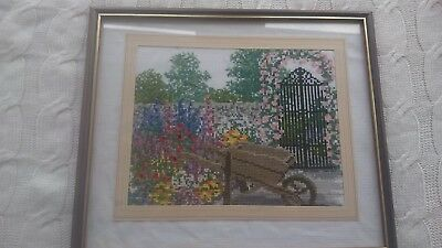 Framed Embroidery  Needlework Picture garden