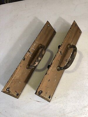 O 45. Pair Of Antique Brass Door Pulls With Beveled Edge