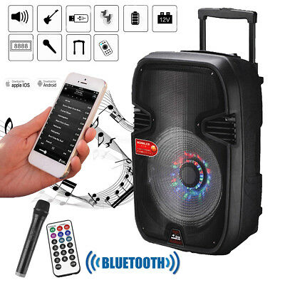 "15""*BLUETOOTH*Portable KARAOKE PARTY PA DJ SPEAKER SYSTEM*with Lights&Mic"