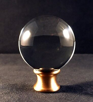 Lamp Finial-Large Orb Optic Crystal Lamp Finial With Satin Brass Base