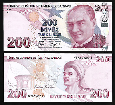 Turkey 200 Lira 2009 - P227b - UNC