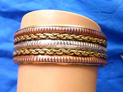 "Vintage Older High Polish Silver Brass Copper Bangle Bracelet 7/8"" Wide Bangle"