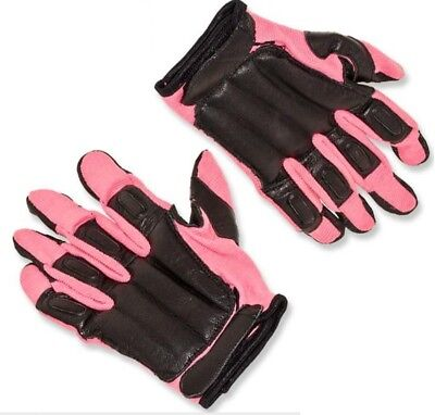 Tactical Weighted SAP GLOVES Black Cowhide Leather & Pink Nylon - MEDIUM