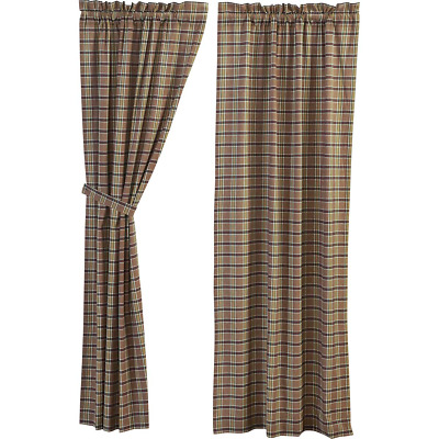 "Wyatt Plaid Curtain Drapery Panel Set of 2-Each 84""x40"" Lined with White Cotton"