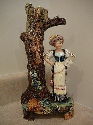S38 Antique Majolica Art Pottery Figural Continental European Tree Trunk Vase