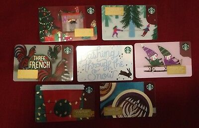 *NEW* 2018 Lot of 7 Starbucks Holiday Gift Cards *unactivated*