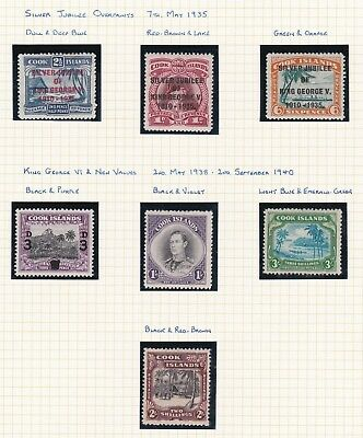 Commonwealth. Cook Islands. 1935, 1938 and 1940 issues.  Mint and Unused No Gum.