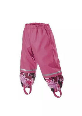 Lupilu Kids Pink Waterproof Rain Trousers Age 12-24 Months Fleece Lined. Bnwt