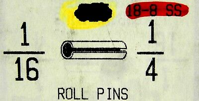 """(50) 1/16"""" X 1/4""""  Premium Ss Slotted Roll Spring Pins 18-8 Stainless Nh"""