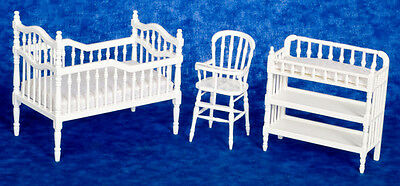 DOLLHOUSE MINIATURE - White Wooden Victorian Nursery 3 pc. Crib Chg Table Chair