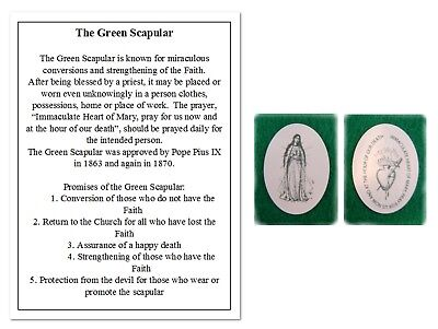 Green Scapular With Instructional Prayer, Catholic Devotion Set Buy 2 Get 1 Free