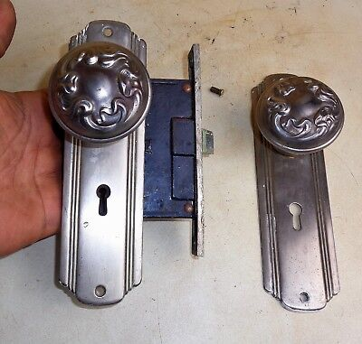Antique Vintage Hardware Set Backplate Door Knobs Mortise Lock Reclaimed Salvage
