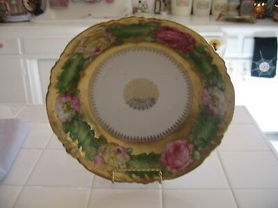 Beautiful Vintage Hand Painted Roses With Gold Serving Bowl
