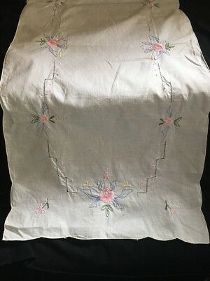Vintage Embroidered Linen Table Runner Floral 35 X 16 Lovely