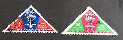 2 wonderful old triangle stamps Haïti