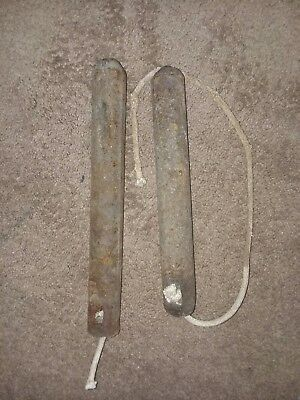 Antique Cast Iron Window Sash Weights (X2) 4 Lbs And 5 Lbs