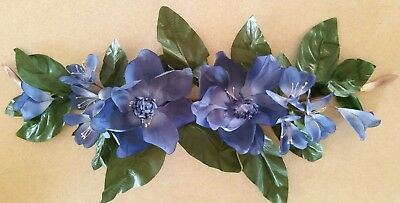 """Home Interior """"Magnolia"""" Blue Floral Wall Swag - approx 28"""""""