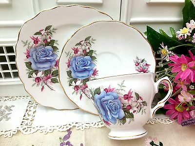 ROYAL VALE 1960s TRIO CUP SAUCER PLATE SET - BLUE ROSE FLORAL GILDED BONE CHINA