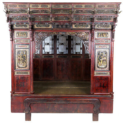 Antique Chinese Wedding Canopy Opium Bed Intricately Carved, Full Size
