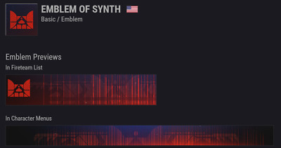 Destiny 2 | 100% GUARANTEED Emblem of Synth | INSTANT DELIVERY