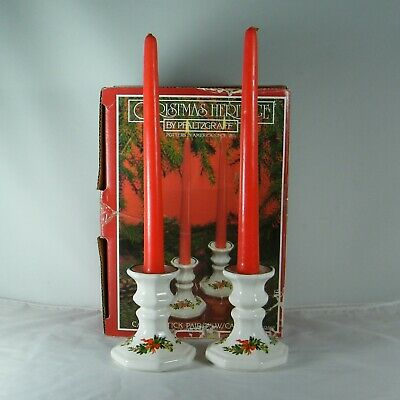 """Pfaltzgraff """"Christmas Heritage"""" Pr. Candlesticks with RED Candles & Box"""