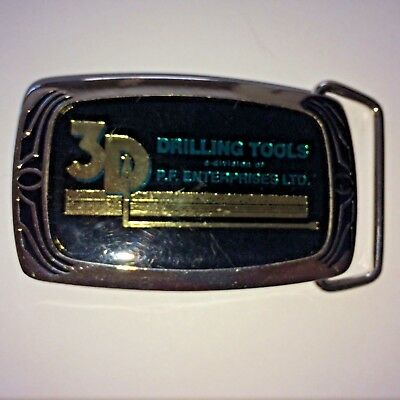Vintage 3D Drilling Tools Belt Buckle 1987 Solid Brass Oil, gas, pipe