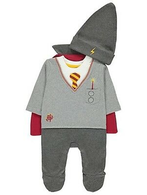 Harry Potter Wizard Babygrow Cape Hat Romper Sleepsuit Outfit Bnwt 3-6 M