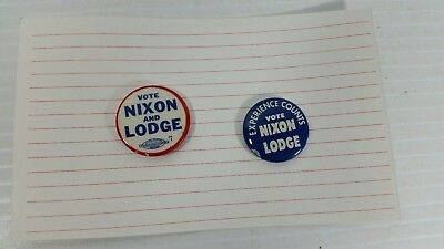 Lot of 2 Vintage Nixon Lodge For President Pins 1 Inch