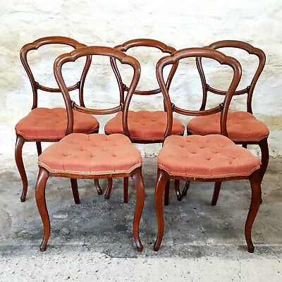 Victorian Balloon Back Mahogany Set of 5 Dining Chairs Late C19th (4+1 Antique)