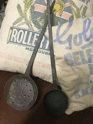 Antique Solid Brass Ladle & Skimmer Original 1800's Hand Hammered Primitive Arts