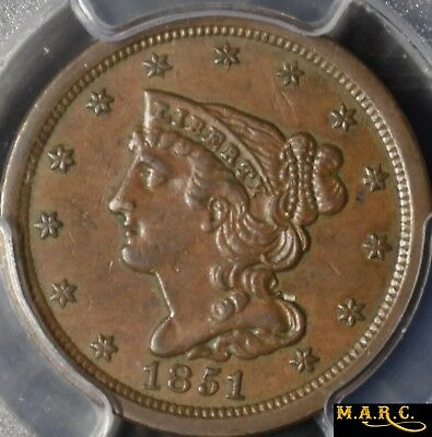 1851 AU55 PCGS 1/2C Braided Hair Half Cent, Nice Color and Eye Appeal, F/S MARC